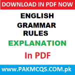 English Grammar Rules Explanations in PDF.