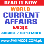 World Current Affairs MCQS of August / September